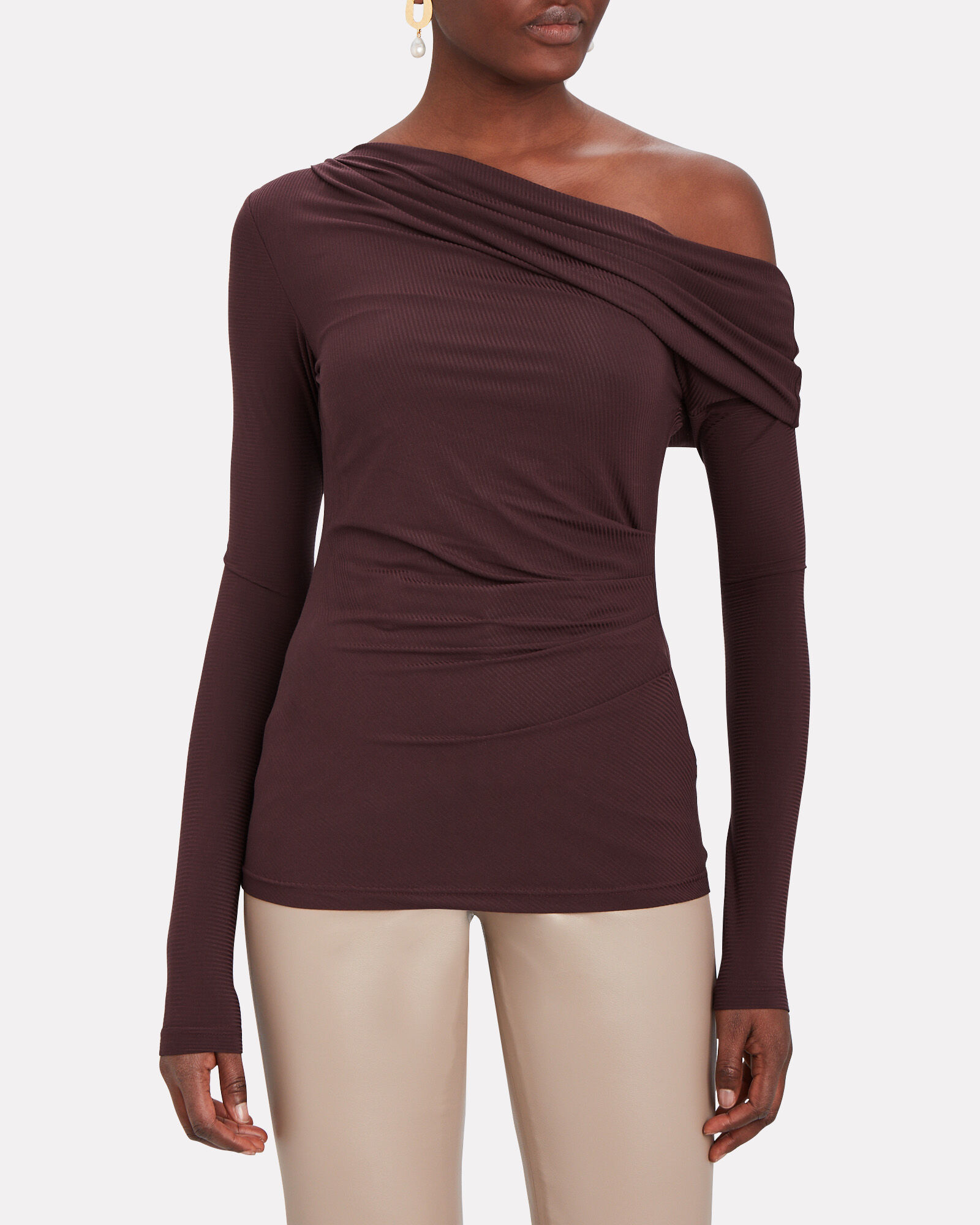 One-Shoulder Rib Knit Top, MERLOT, hi-res
