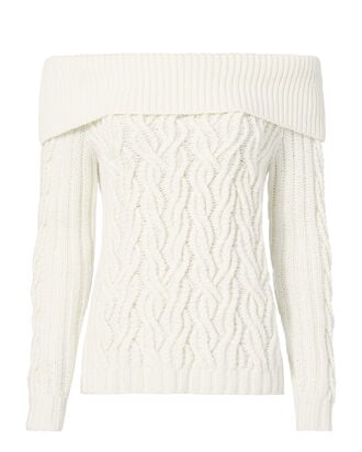 Off Shoulder Cable Knit Sweater, IVORY, hi-res