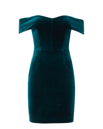 Off Shoulder Velvet Mini Dress, TURQUOISE, hi-res