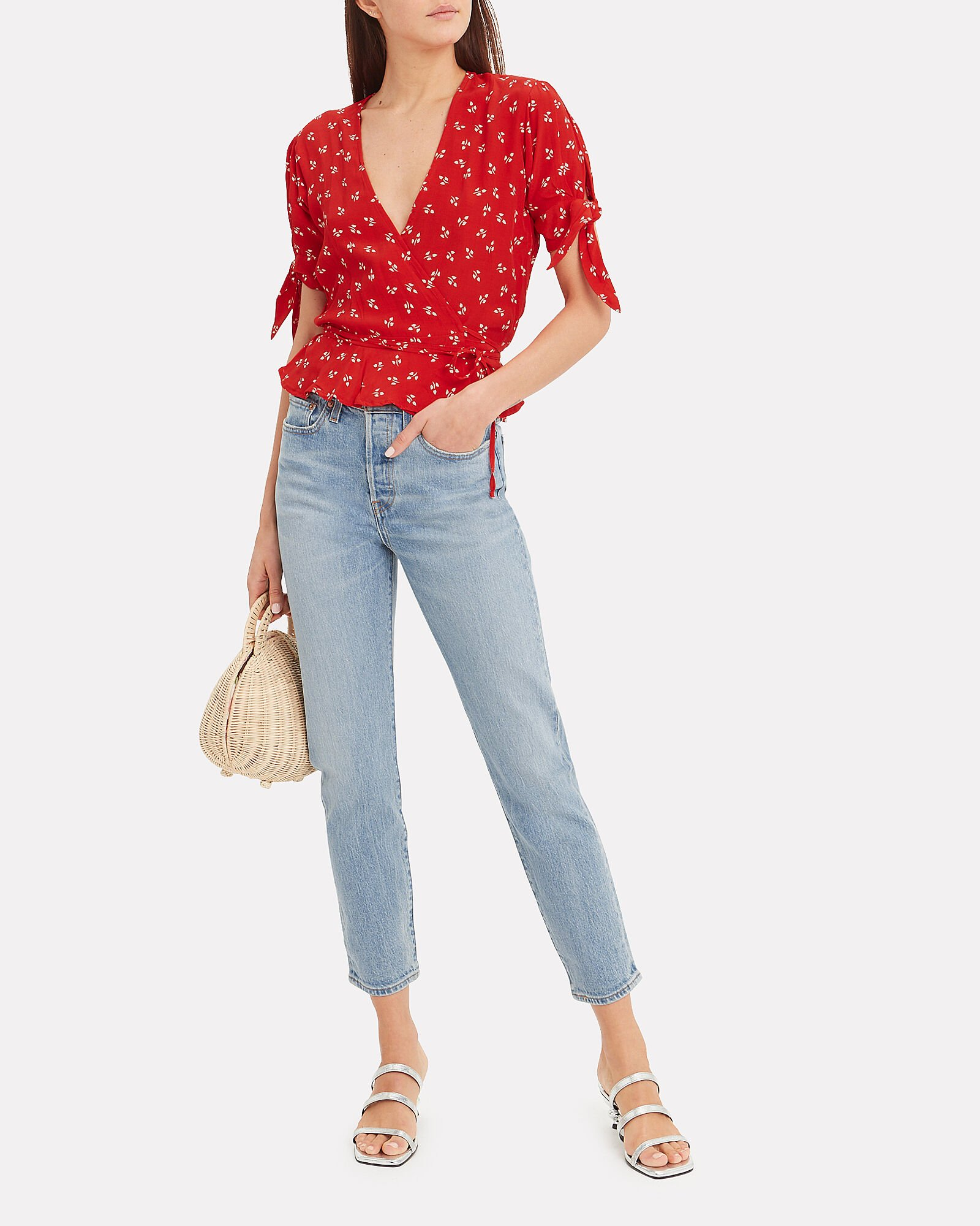 Lucy Floral Wrap Top, RED/IVORY FLORAL, hi-res