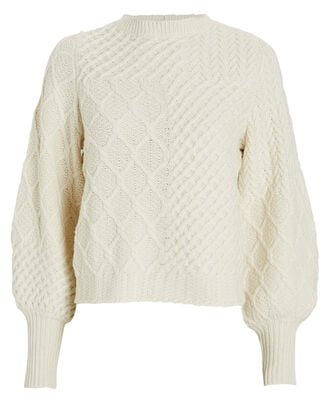 Patchwork Cable Knit Wool Sweater, OFF WHITE, hi-res