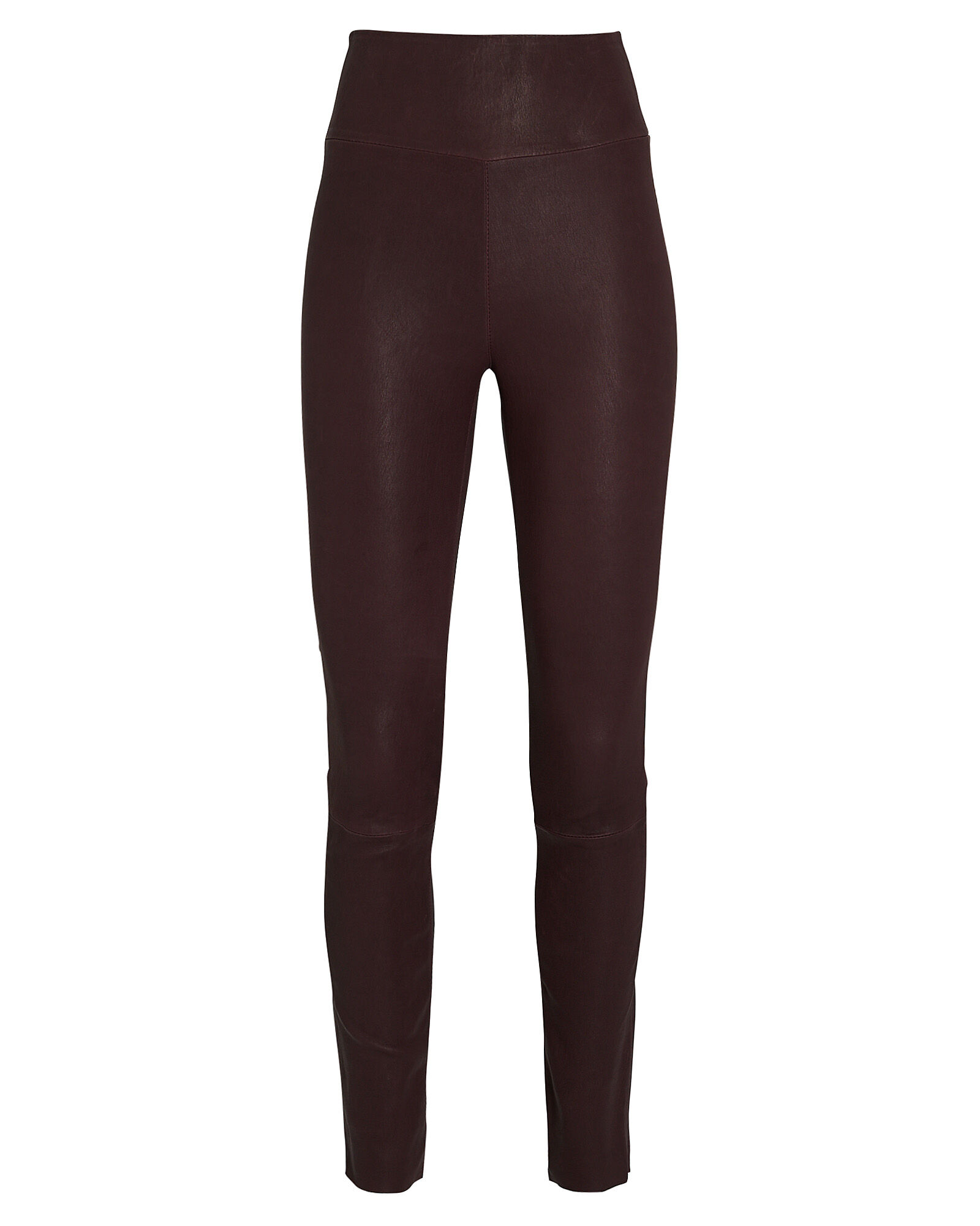 High-Waist Leather Ankle Leggings, RED-DRK, hi-res