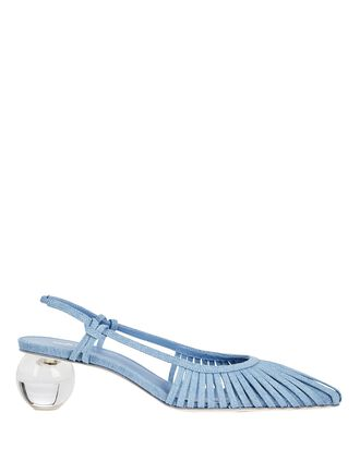 Alia Denim Slingback Pumps, LIGHT BLUE, hi-res
