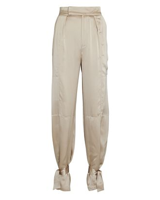 Erato Tapered Silk Trousers, BEIGE, hi-res