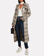Handsome Glossy Trench Coat, BEIGE/PLAID, hi-res