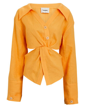 Rasha Twisted Linen Cut-Out Shirt, ORANGE, hi-res