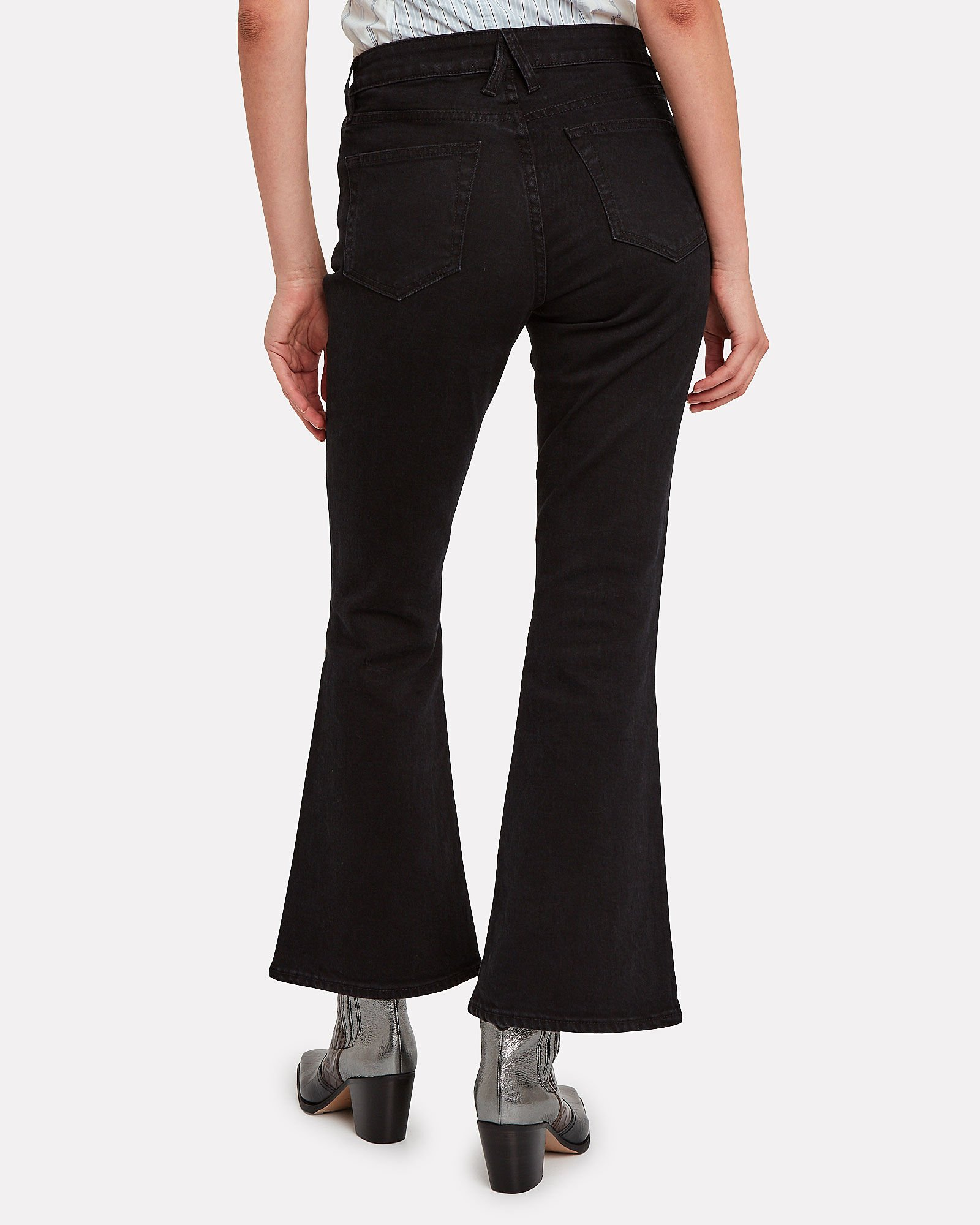Crystal Flared High-Rise Jeans, BLACK DENIM, hi-res
