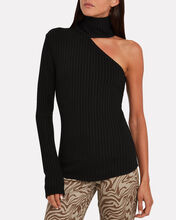 Framed Rib Knit Carved Turtleneck, BLACK, hi-res