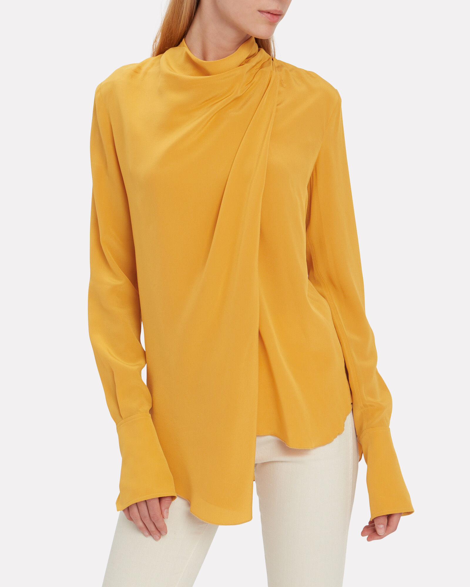 Sophie Silk Draped Blouse, YELLOW, hi-res