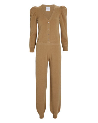 Gets Cashmere Puff Sleeve Jumpsuit, BROWN, hi-res