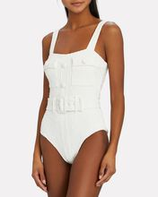 Marlow Belted One-Piece Swimsuit, WHITE, hi-res