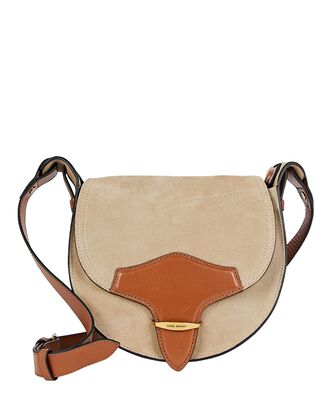 Botsy Suede Saddle Crossbody Bag, BEIGE, hi-res