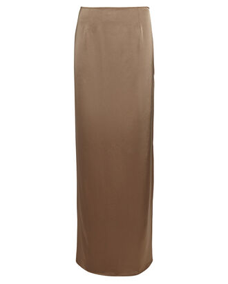 Maxi Satin Tube Skirt, BEIGE, hi-res