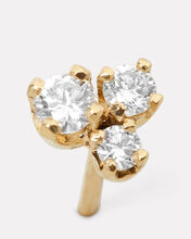 Three Diamonds Single Stud Earring, GOLD, hi-res