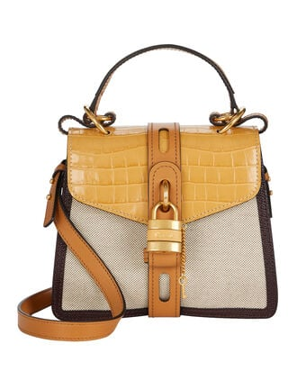 Small Aby Leather and Canvas Bag, BEIGE, hi-res