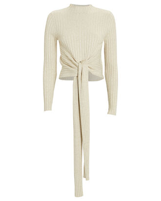 Goldie Tie-Front Sweater, IVORY, hi-res