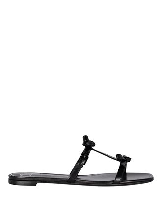French Bow Leather Flat Sandals, BLACK, hi-res
