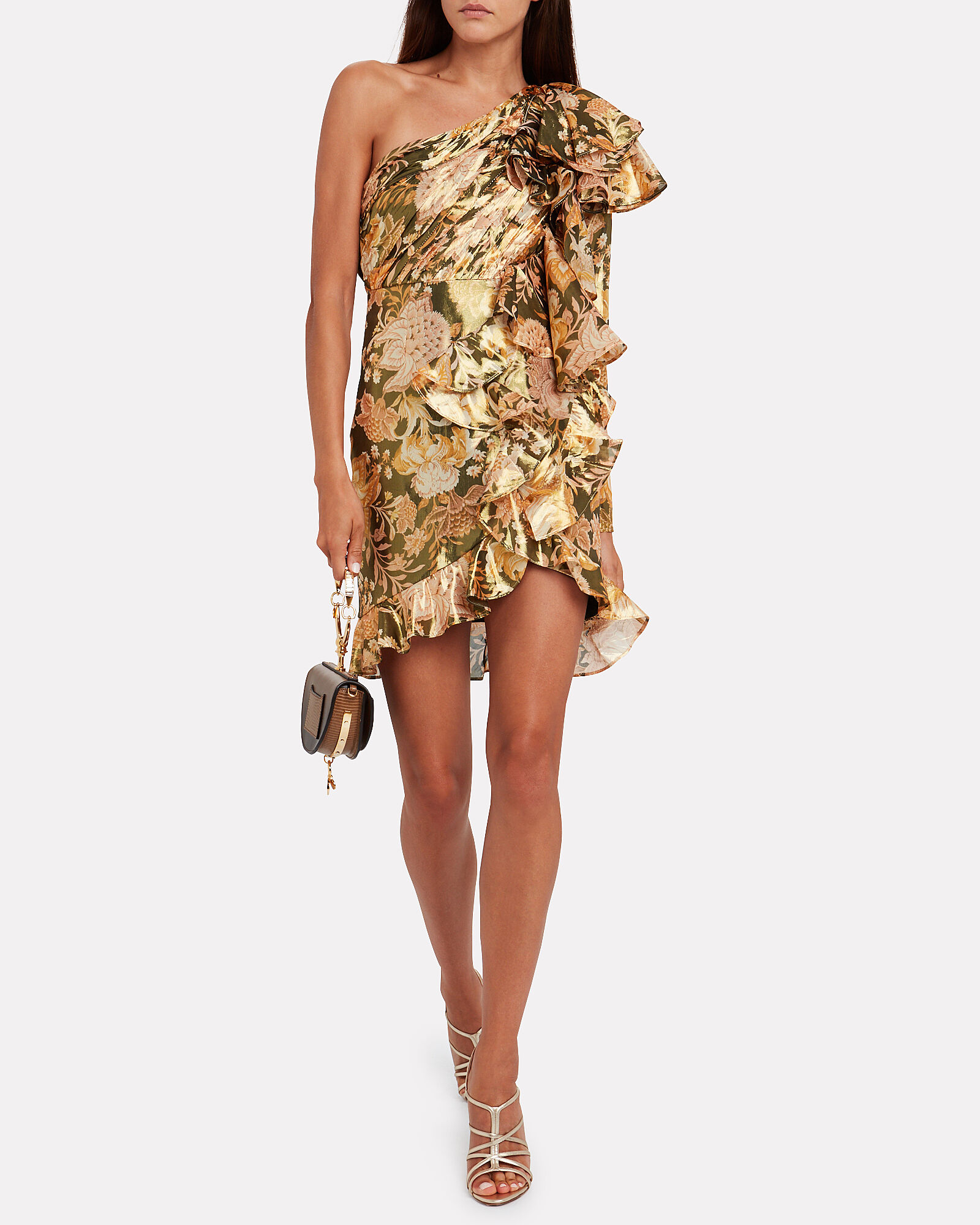 Chateau Ruffled Floral Dress, GOLD/FLORAL, hi-res