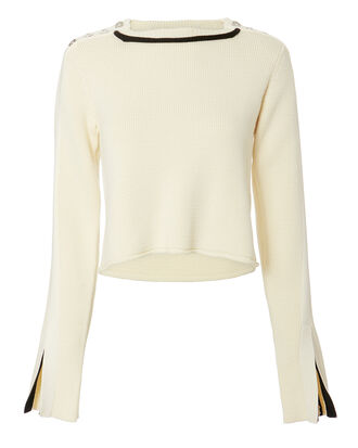 Button Detail Split Sleeve Sweater, IVORY, hi-res