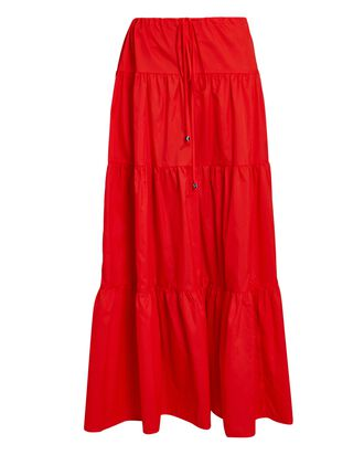 Lucca Tiered Midi Skirt, RED, hi-res