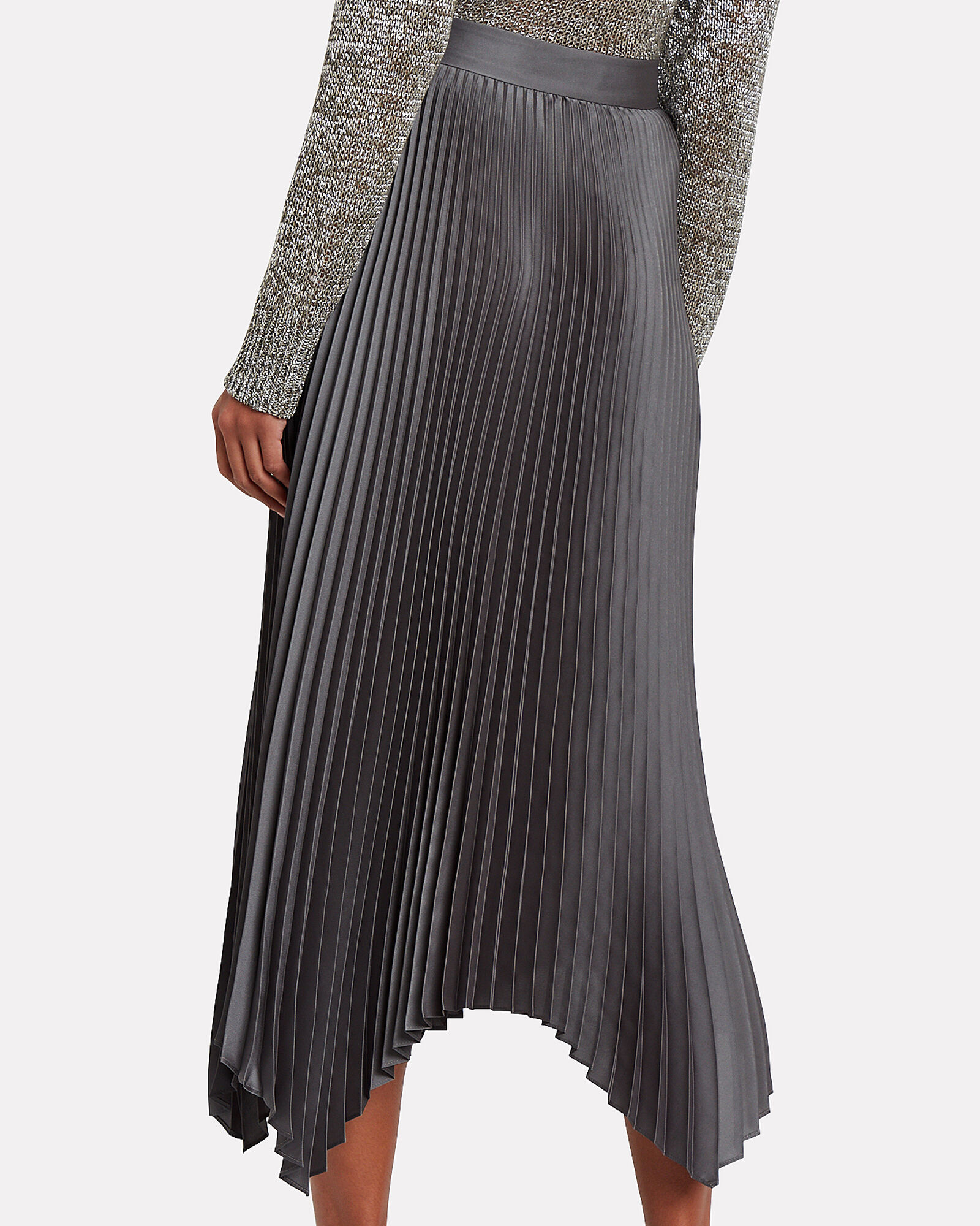 Bella Pleated Midi Skirt, GREY, hi-res