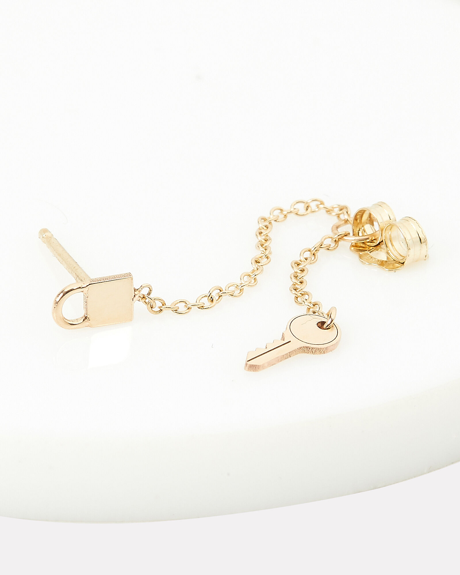 Itty Bitty Padlock Key Single Earring, GOLD, hi-res