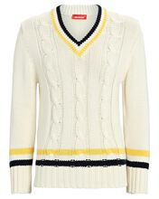Cable Knit Tennis Sweater, IVORY, hi-res