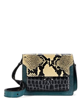 Mini Trunk Leather Crossbody Bag, BEIGE/BLACK/GREEN, hi-res