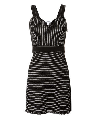 Striped Mini Knit Dress, BLACK, hi-res