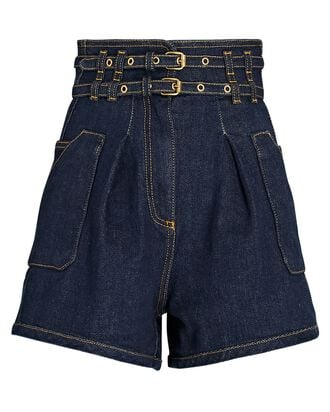 Double Belted Denim Shorts, DARK WASH DENIM, hi-res
