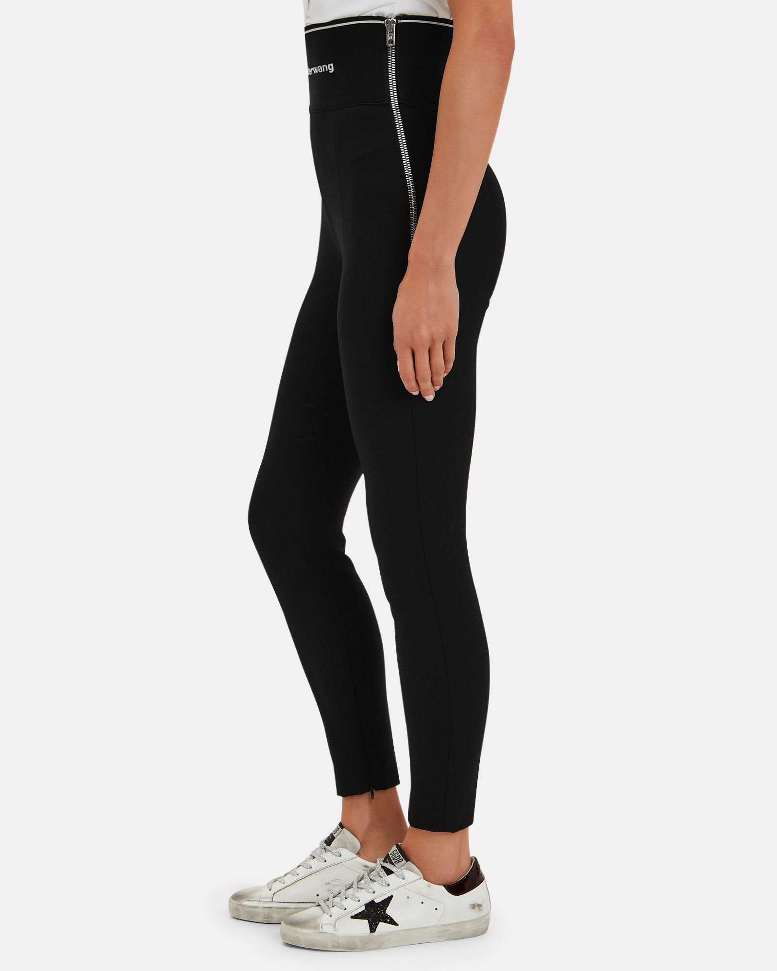 Stretch Twill Wool Logo Leggings, BLACK, hi-res