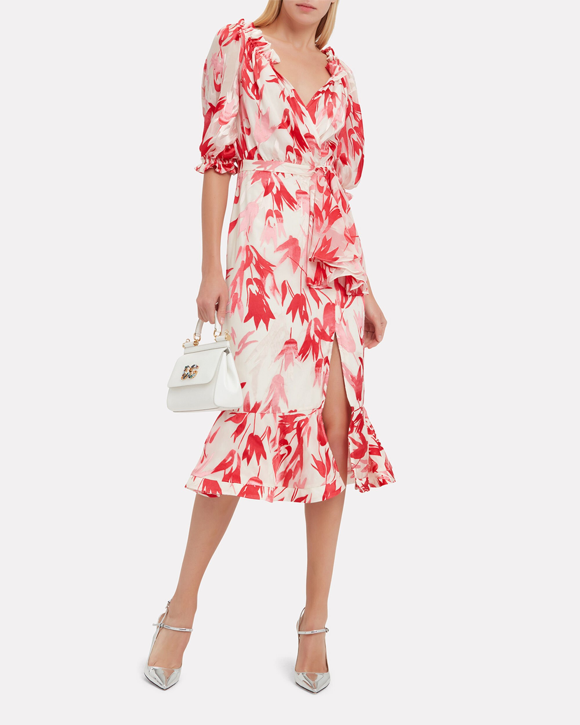 Olivia Floral Midi Dress, RED/PINK FLORAL/IVORY, hi-res