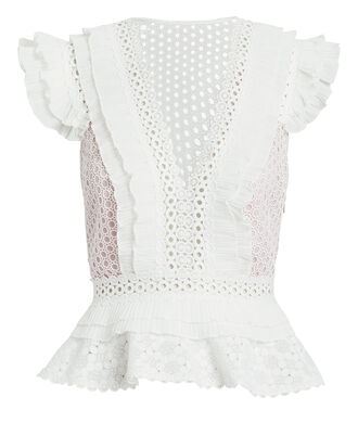 Julian Eyelet Top, WHITE, hi-res
