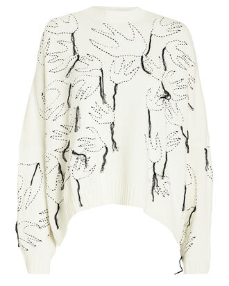 Swallow Embroidered Crewneck Sweater, WHITE/BLACK, hi-res