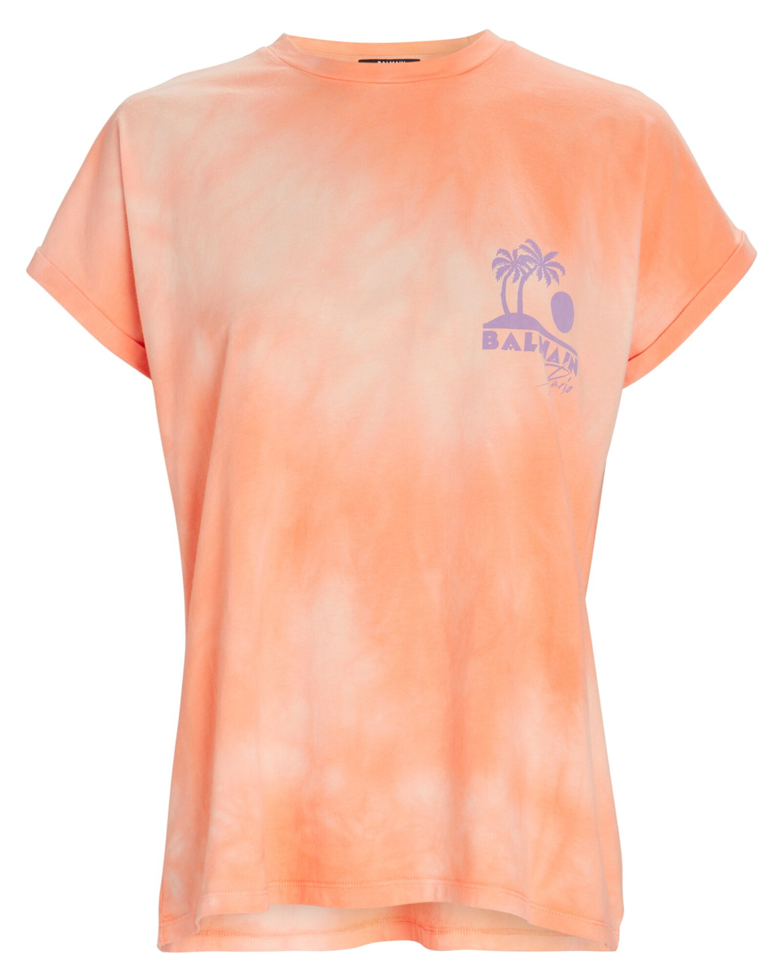 Tie-Dye Logo Crewneck T-Shirt, ORANGE, hi-res