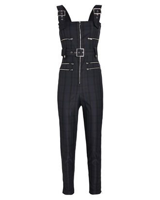 Moto Plaid Twill Jumpsuit, NAVY/PLAID, hi-res
