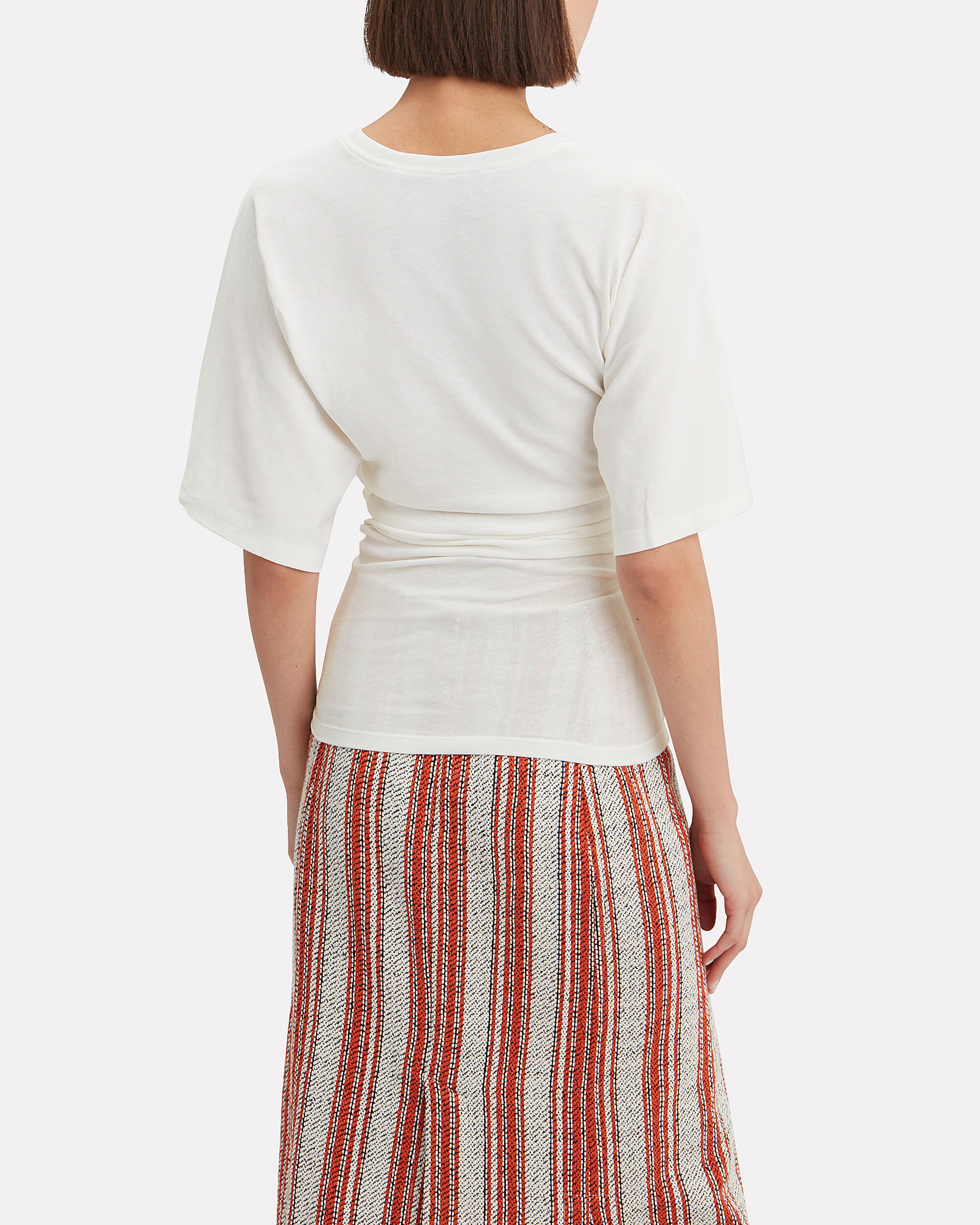 Ruched Wide Sleeve T-shirt, WHITE, hi-res