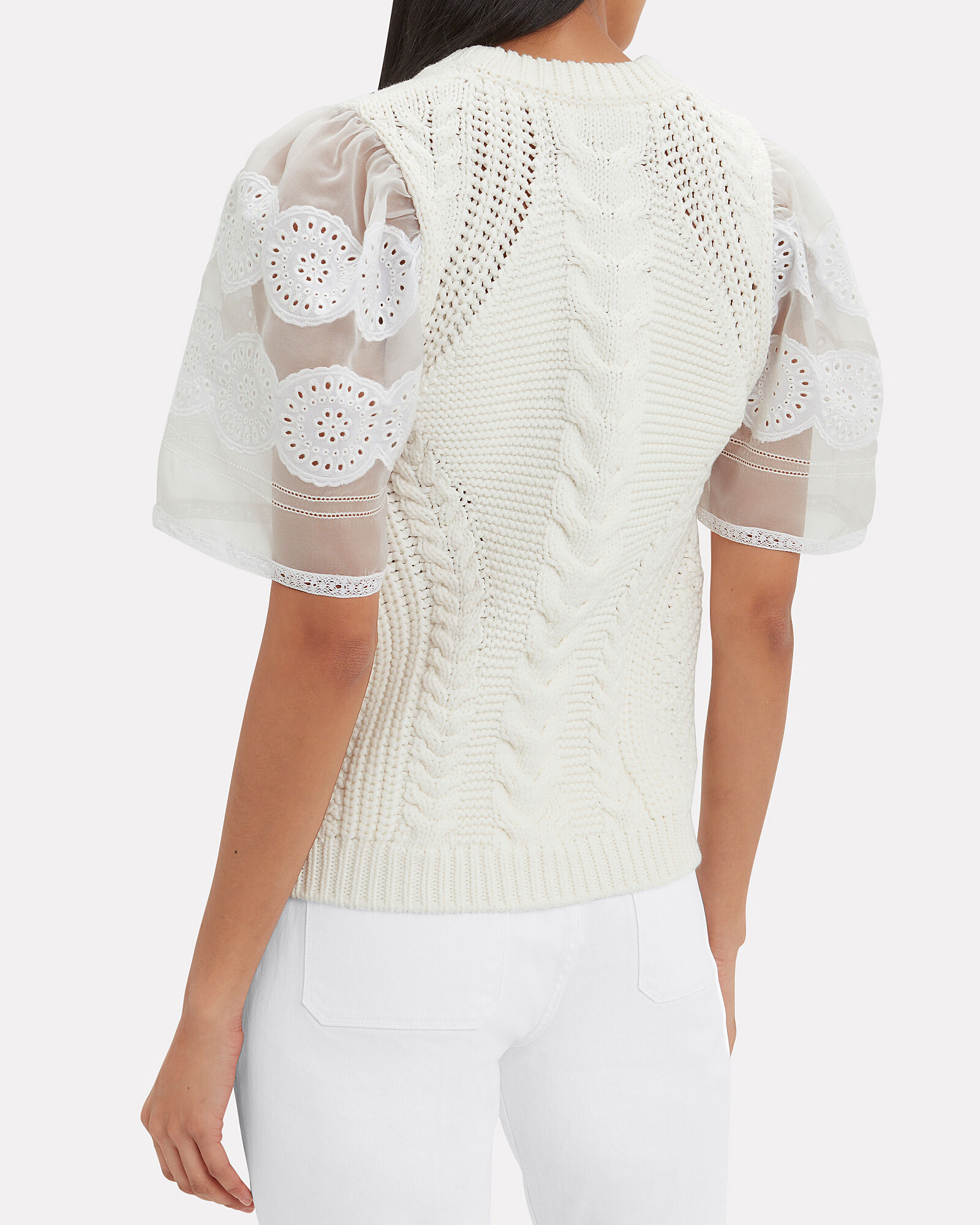 Zinnia Cable Knit Sweater, WHITE, hi-res