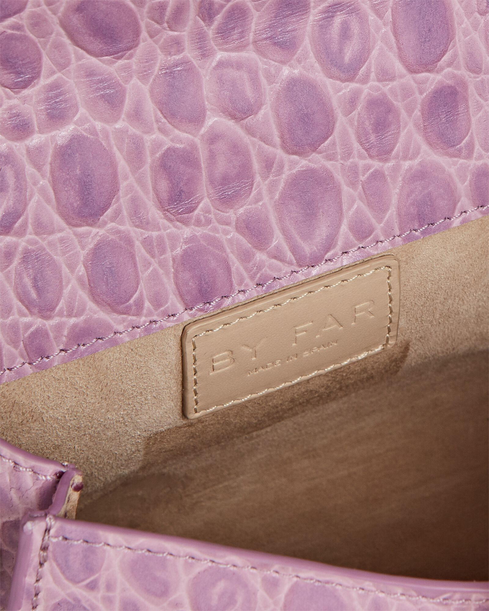 Mini Croc-Embossed Leather Bag, PURPLE-LT, hi-res