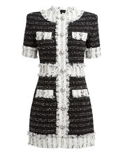 Tweed Short Sleeve Mini Dress, BLACK/WHITE, hi-res