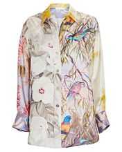 Botanica Printed Silk Shirt, Purple/Yellow/Green, hi-res