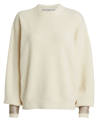 Embellished Boiled Wool-Blend Sweater, IVORY, hi-res