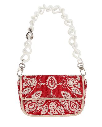 Mini Tommy Chain-Link Beaded Bag, RED, hi-res