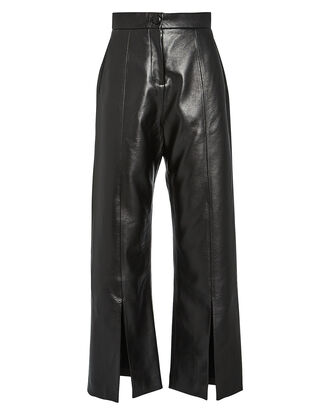 High-Rise Vegan Leather Pants, BLACK, hi-res