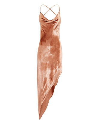 Velvet Asymmetric Dress, ORANGE, hi-res