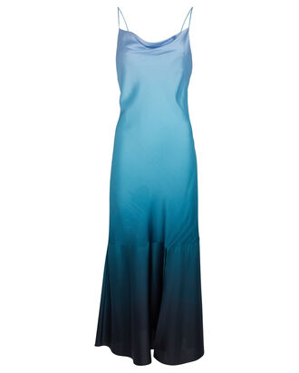 Paris Silk Slip Dress, BLUE/NAVY OMBRE, hi-res