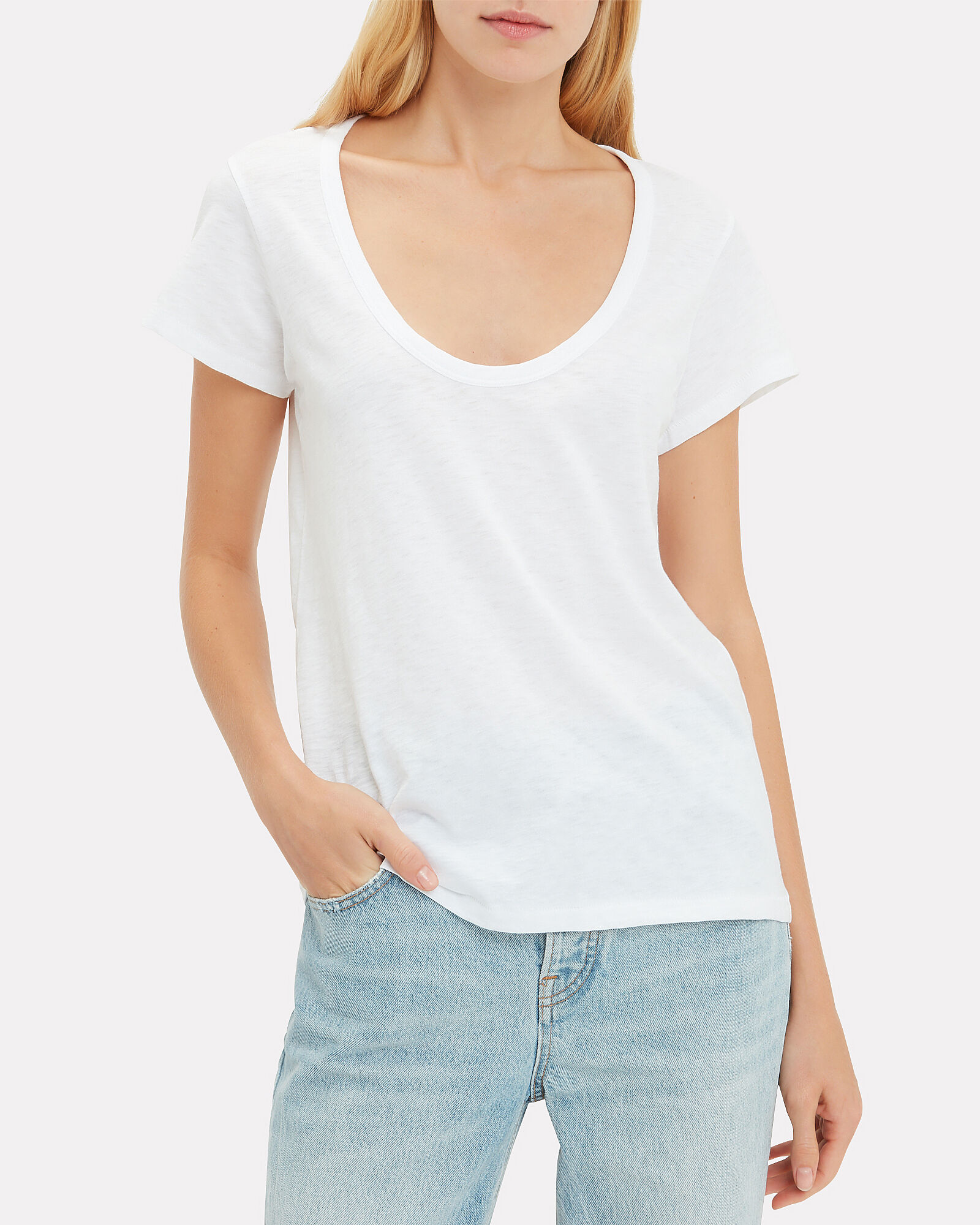 U-Neck T-Shirt, WHITE, hi-res