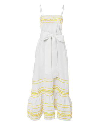Ric Rac Maxi Dress, WHITE, hi-res