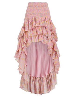 Berry High-Low Floral Cotton Skirt, PINK, hi-res