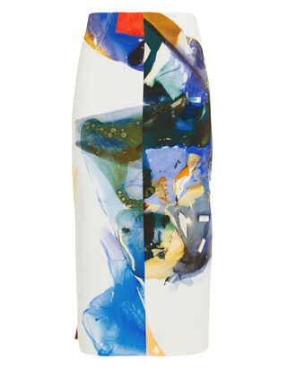 Abstract Print Skirt, WHITE/BLUE, hi-res